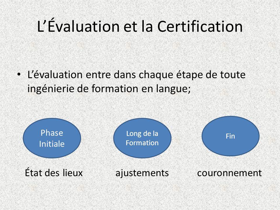 LÉvaluation et la Certification Lévaluation entre dans chaque étape de toute ingénierie de formation en langue; État des lieux ajustements couronnemen