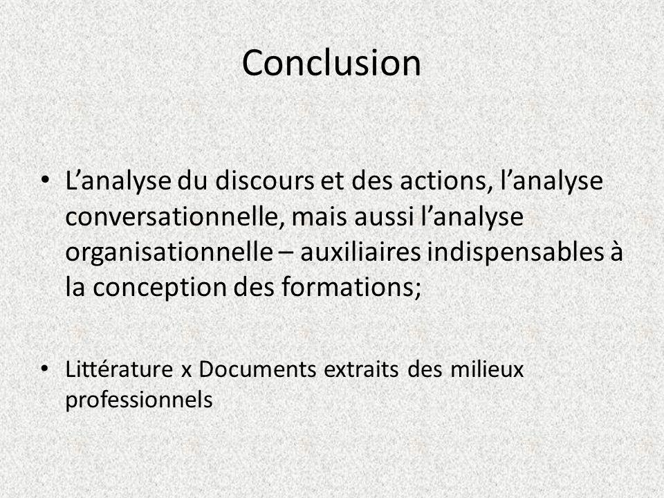 Conclusion Lanalyse du discours et des actions, lanalyse conversationnelle, mais aussi lanalyse organisationnelle – auxiliaires indispensables à la co