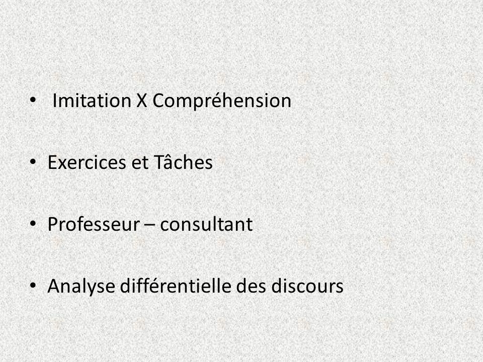 Imitation X Compréhension Exercices et Tâches Professeur – consultant Analyse différentielle des discours