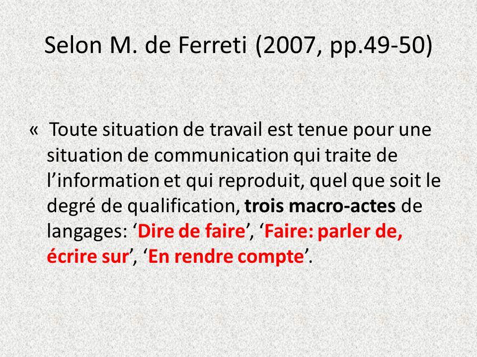Selon M. de Ferreti (2007, pp.49-50) « Toute situation de travail est tenue pour une situation de communication qui traite de linformation et qui repr
