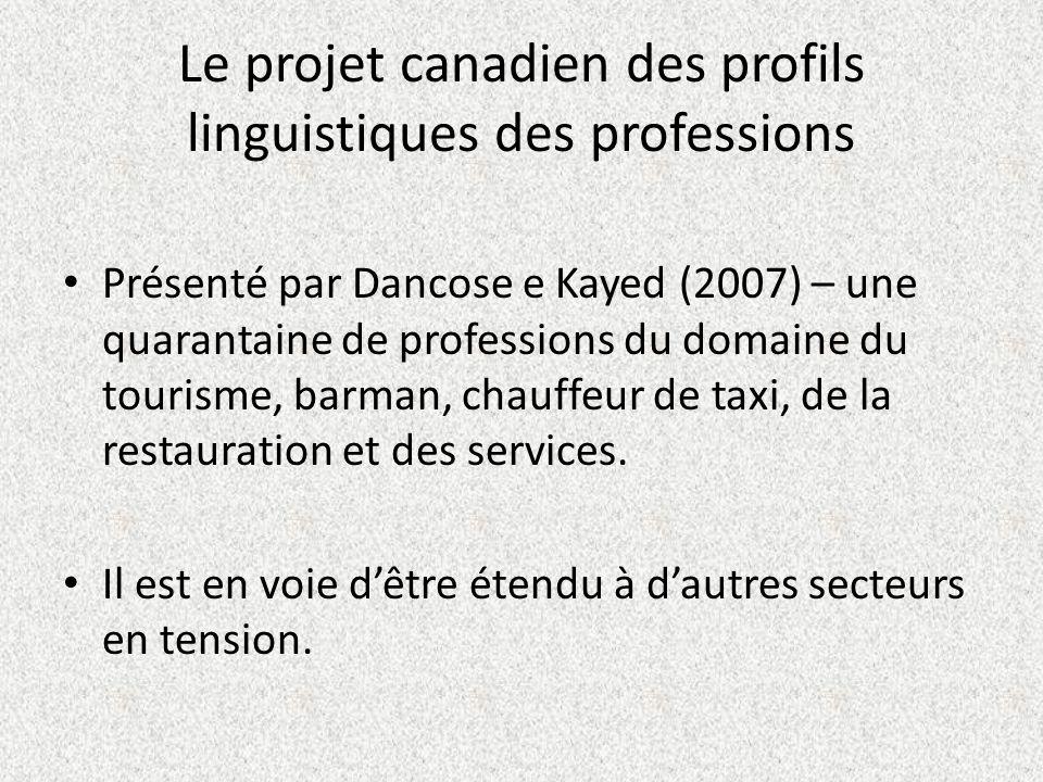 Le projet canadien des profils linguistiques des professions Présenté par Dancose e Kayed (2007) – une quarantaine de professions du domaine du touris