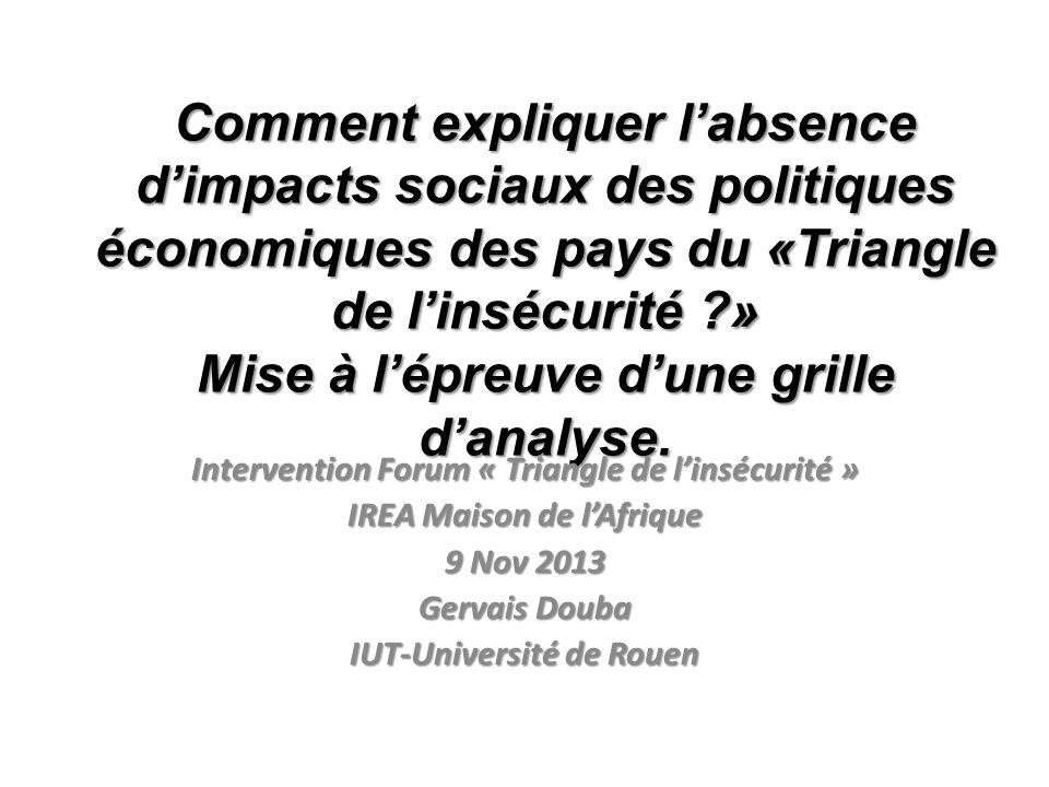 Comment expliquer labsence dimpacts sociaux des politiques économiques des pays du «Triangle de linsécurité ?» Mise à lépreuve dune grille danalyse.