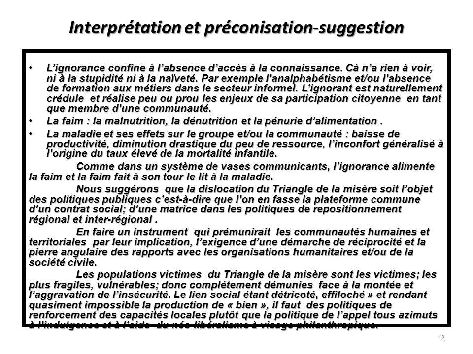Interprétation et préconisation-suggestion Lignorance confine à labsence daccès à la connaissance.