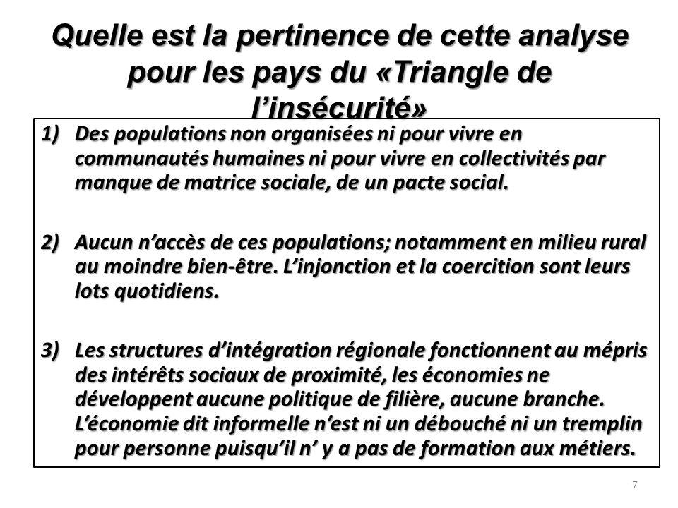 Quelle est la pertinence de cette analyse pour les pays du «Triangle de linsécurité» 1)Des populations non organisées ni pour vivre en communautés humaines ni pour vivre en collectivités par manque de matrice sociale, de un pacte social.