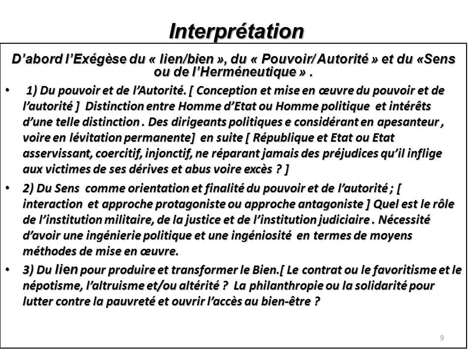 Interprétation Dabord lExégèse du « lien/bien », du « Pouvoir/ Autorité » et du «Sens ou de lHerméneutique ».