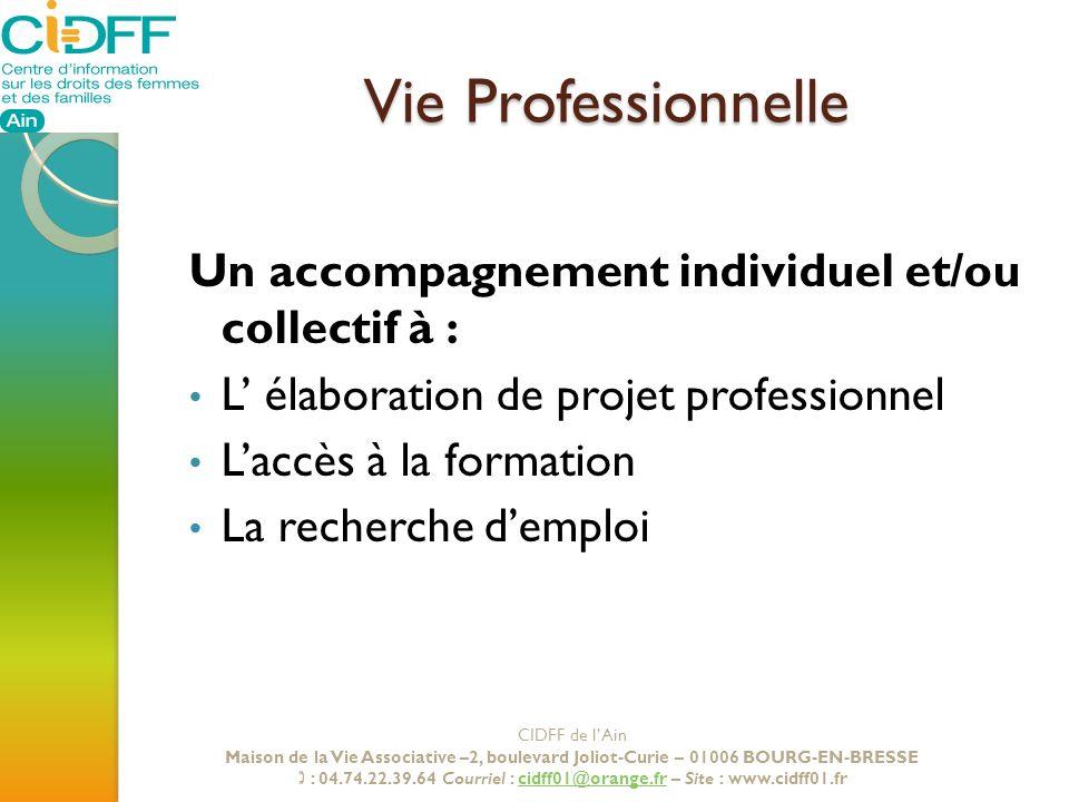 Vie Professionnelle Un accompagnement individuel et/ou collectif à : L élaboration de projet professionnel Laccès à la formation La recherche demploi