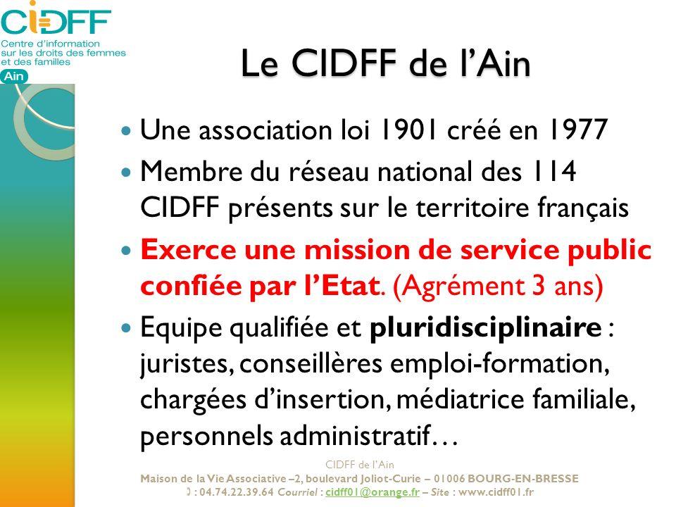 Le CIDFF de lAin Une association loi 1901 créé en 1977 Membre du réseau national des 114 CIDFF présents sur le territoire français Exerce une mission