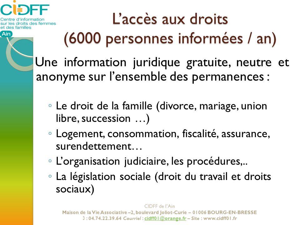 Laccès aux droits (6000 personnes informées / an) Une information juridique gratuite, neutre et anonyme sur lensemble des permanences : Le droit de la