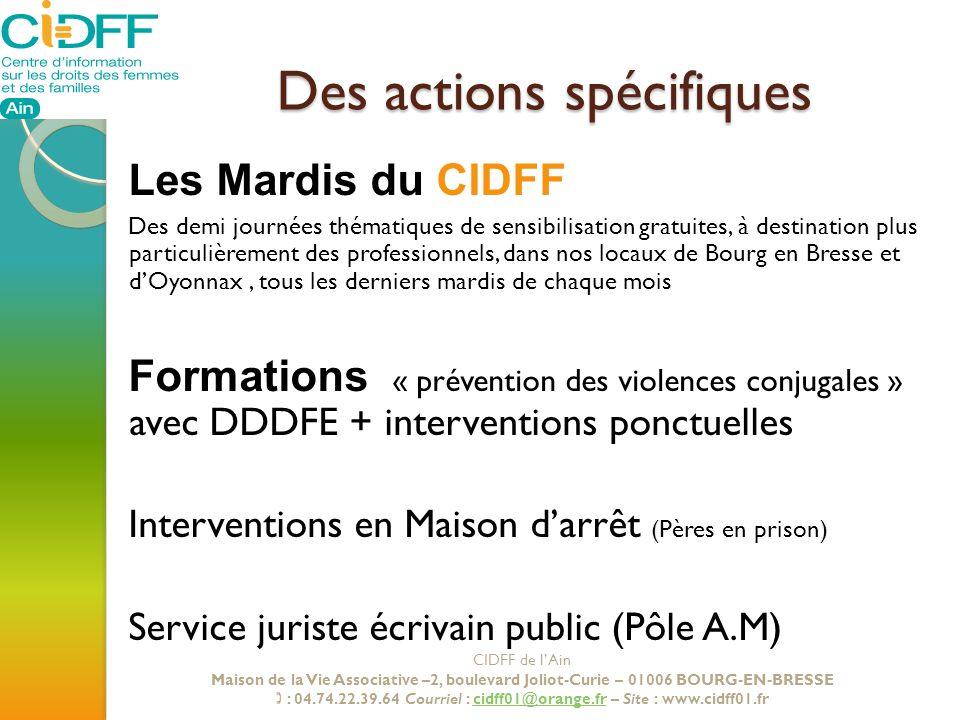 Des actions spécifiques Les Mardis du CIDFF Des demi journées thématiques de sensibilisation gratuites, à destination plus particulièrement des profes