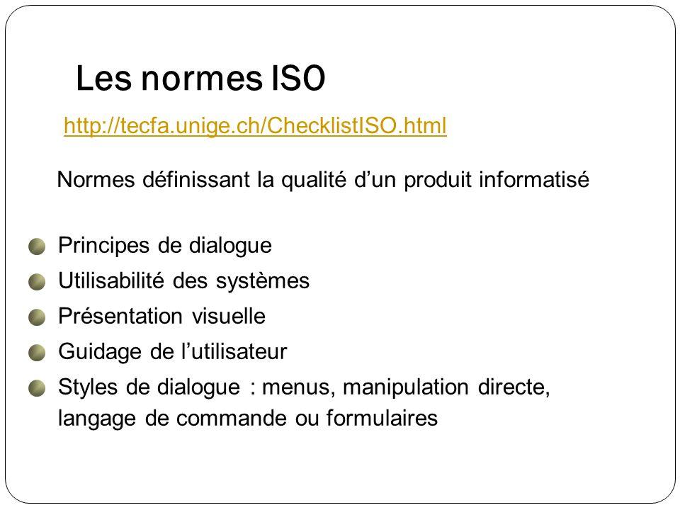 Les normes ISO Normes définissant la qualité dun produit informatisé Principes de dialogue Utilisabilité des systèmes Présentation visuelle Guidage de