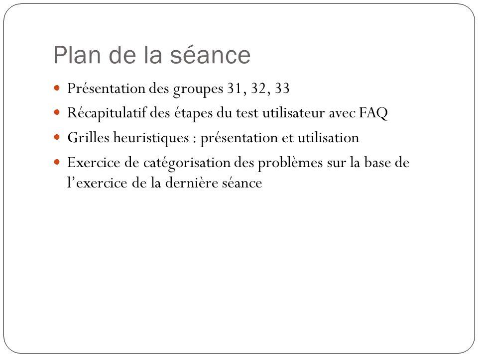 Plan de la séance Présentation des groupes 31, 32, 33 Récapitulatif des étapes du test utilisateur avec FAQ Grilles heuristiques : présentation et uti