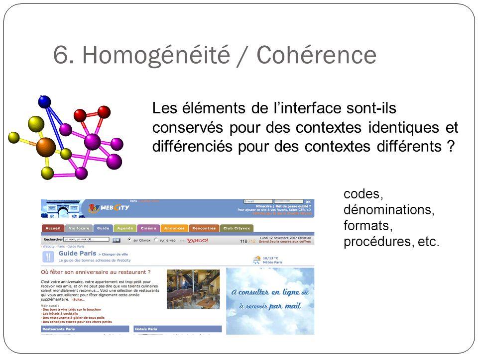 6. Homogénéité / Cohérence Les éléments de linterface sont-ils conservés pour des contextes identiques et différenciés pour des contextes différents ?