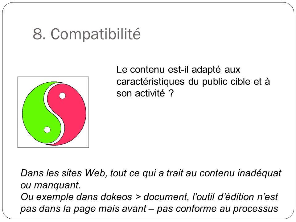 8. Compatibilité Le contenu est-il adapté aux caractéristiques du public cible et à son activité ? Dans les sites Web, tout ce qui a trait au contenu