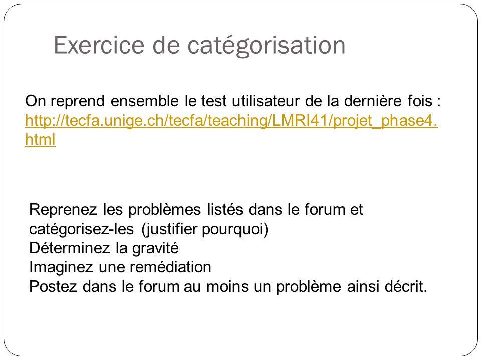 Exercice de catégorisation On reprend ensemble le test utilisateur de la dernière fois : http://tecfa.unige.ch/tecfa/teaching/LMRI41/projet_phase4. ht