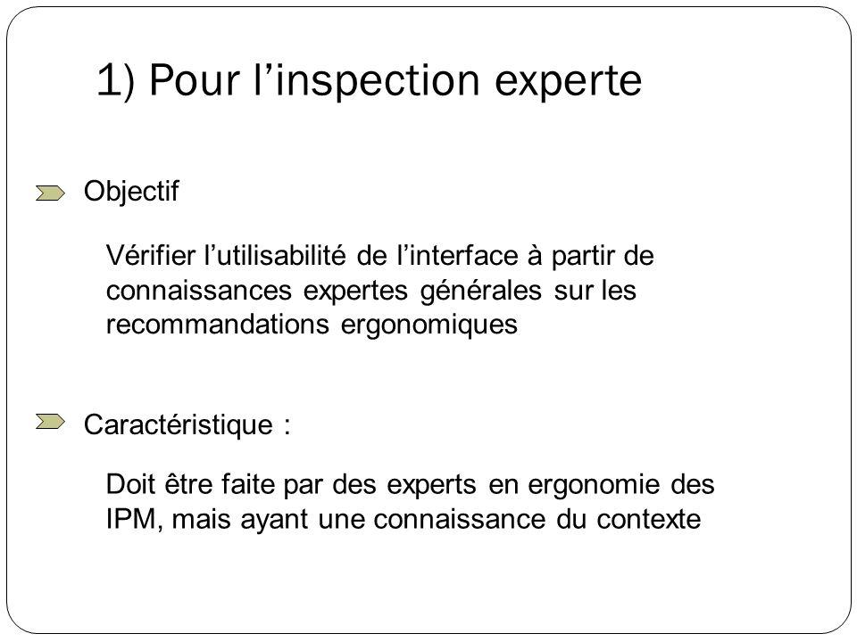 1) Pour linspection experte Vérifier lutilisabilité de linterface à partir de connaissances expertes générales sur les recommandations ergonomiques Ob
