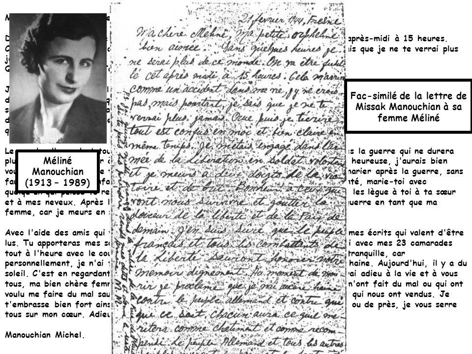 Dautres fac-similés de lettres des membres des 23 avant leur exécution… Dernière lettre de Celestino Alfonso (recto et verso), Fresnes, 21 février 1944.