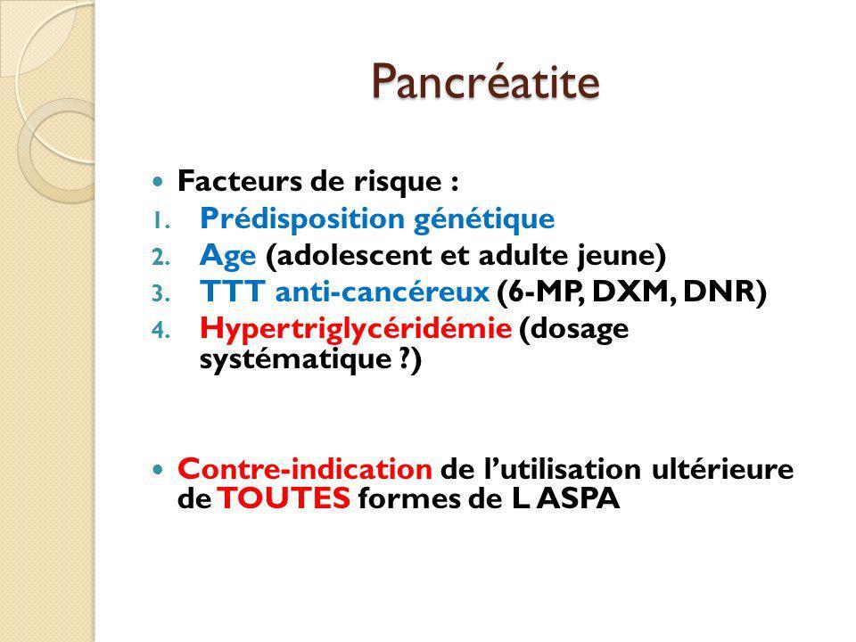 Pancréatite Facteurs de risque : 1. Prédisposition génétique 2. Age (adolescent et adulte jeune) 3. TTT anti-cancéreux (6-MP, DXM, DNR) 4. Hypertrigly