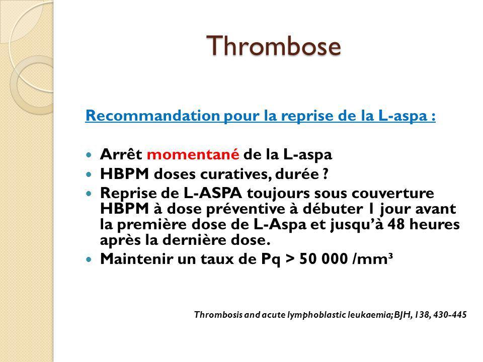 Thrombose Recommandation pour la reprise de la L-aspa : Arrêt momentané de la L-aspa HBPM doses curatives, durée ? Reprise de L-ASPA toujours sous cou