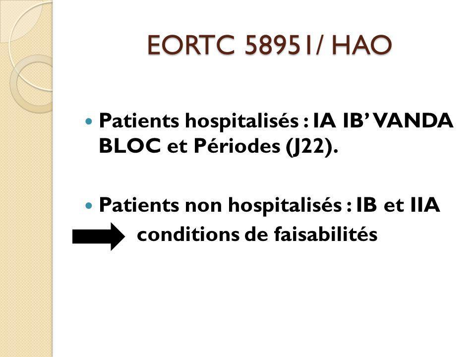 EORTC 58951/ HAO Patients hospitalisés : IA IB VANDA BLOC et Périodes (J22). Patients non hospitalisés : IB et IIA conditions de faisabilités