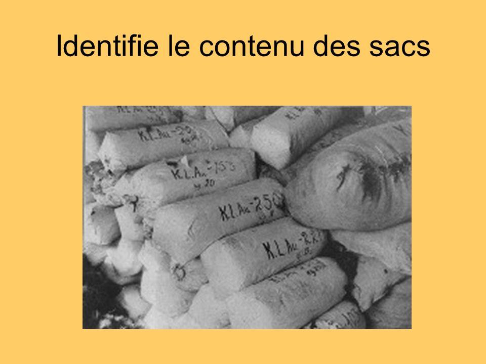 Identifie le contenu des sacs