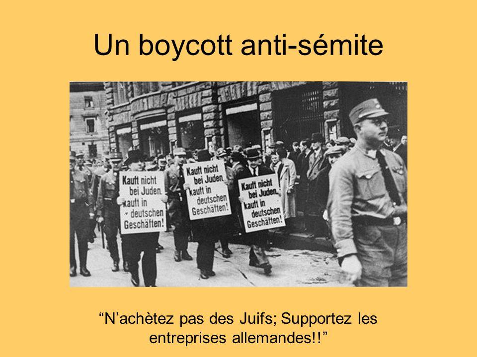 Un boycott anti-sémite Nachètez pas des Juifs; Supportez les entreprises allemandes!!