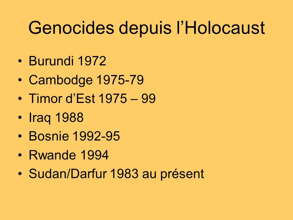 Genocides depuis lHolocaust Burundi 1972 Cambodge 1975-79 Timor dEst 1975 – 99 Iraq 1988 Bosnie 1992-95 Rwande 1994 Sudan/Darfur 1983 au présent