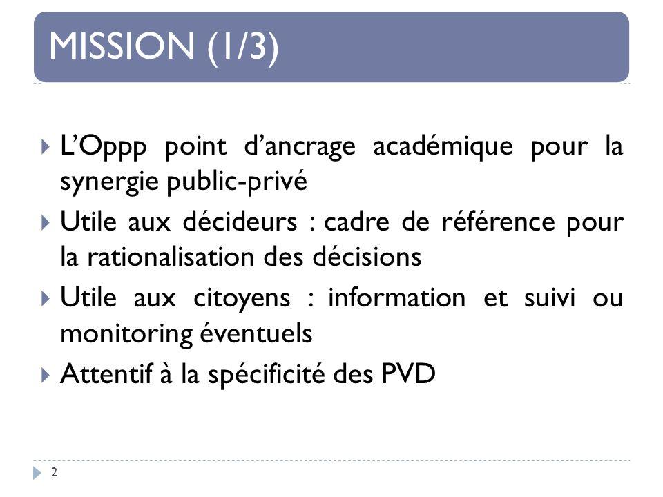 MISSION (1/3) 2 LOppp point dancrage académique pour la synergie public-privé Utile aux décideurs : cadre de référence pour la rationalisation des décisions Utile aux citoyens : information et suivi ou monitoring éventuels Attentif à la spécificité des PVD