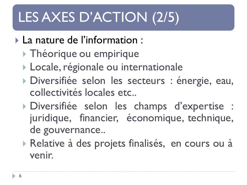 LES AXES DACTION (2/5) 6 La nature de linformation : Théorique ou empirique Locale, régionale ou internationale Diversifiée selon les secteurs : énergie, eau, collectivités locales etc..