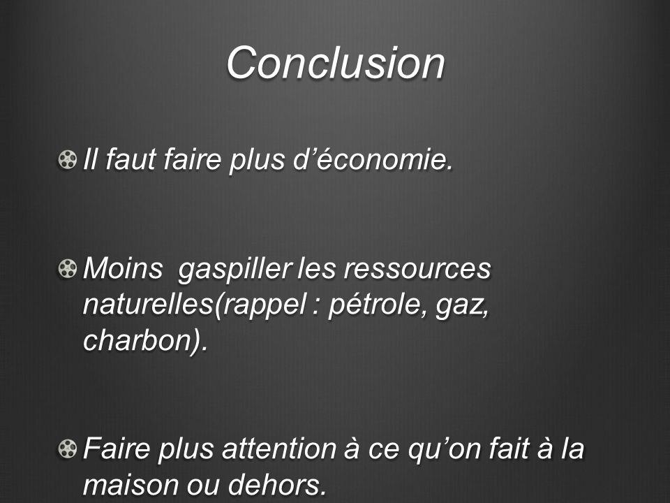 Conclusion Il faut faire plus déconomie. Moins gaspiller les ressources naturelles(rappel : pétrole, gaz, charbon). Faire plus attention à ce quon fai