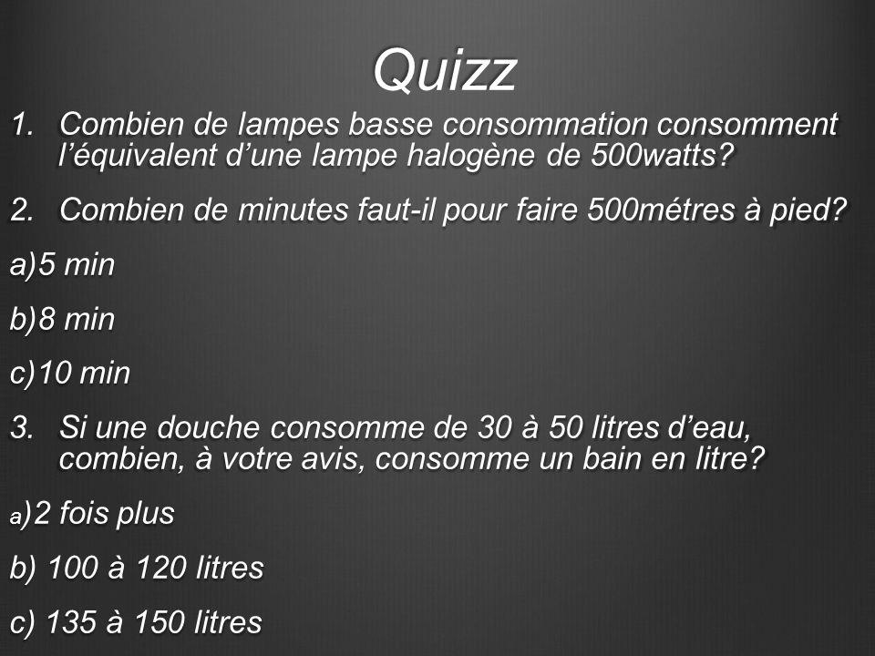 Quizz 1.C ombien de lampes basse consommation consomment léquivalent dune lampe halogène de 500watts? 2.C ombien de minutes faut-il pour faire 500métr