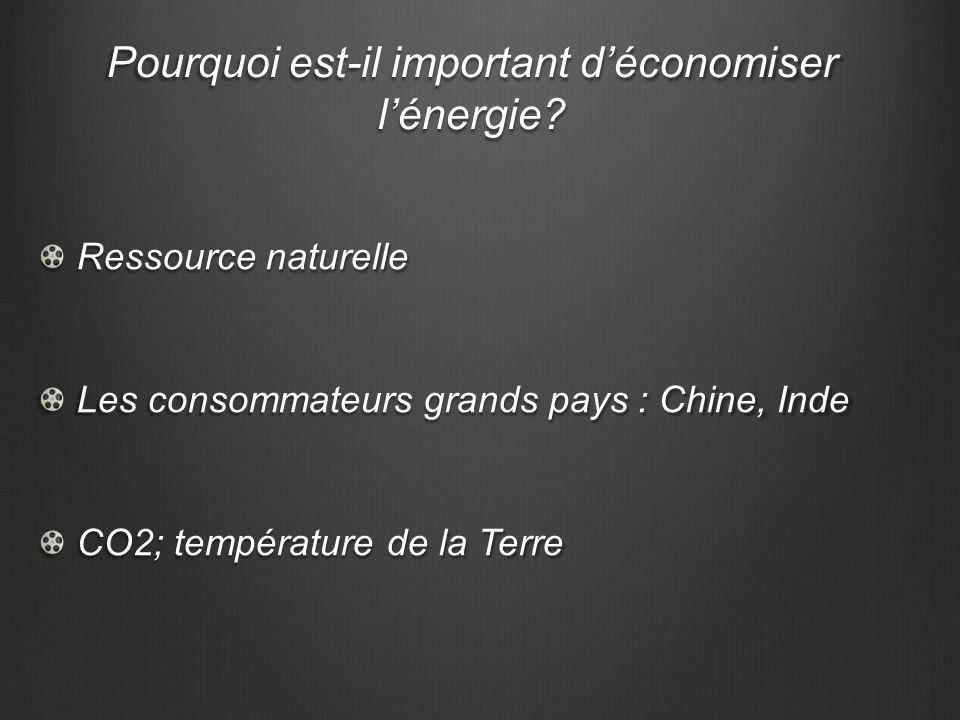 Pourquoi est-il important déconomiser lénergie? Ressource naturelle Les consommateurs grands pays : Chine, Inde CO2; température de la Terre