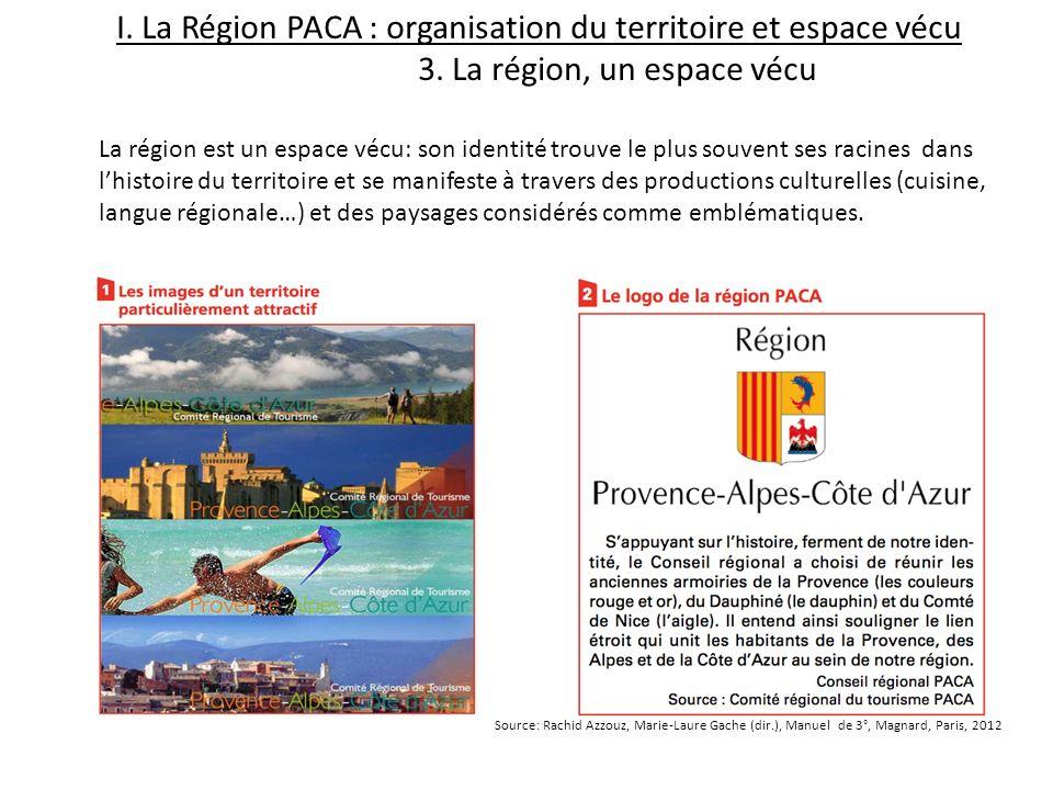 I. La Région PACA : organisation du territoire et espace vécu 3. La région, un espace vécu La région est un espace vécu: son identité trouve le plus s