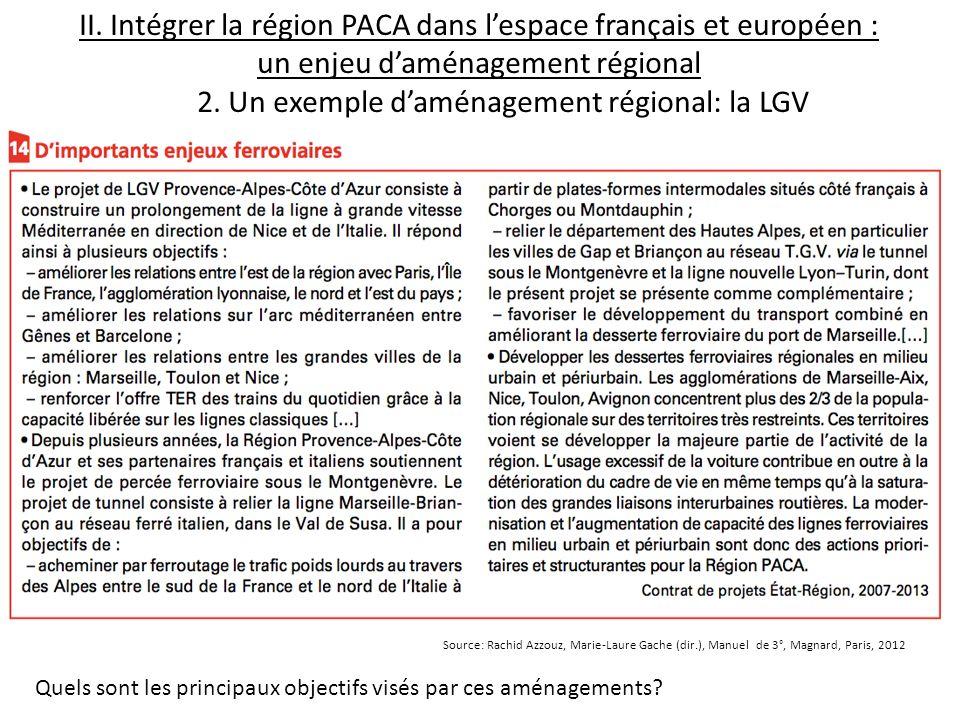 II. Intégrer la région PACA dans lespace français et européen : un enjeu daménagement régional 2. Un exemple daménagement régional: la LGV Quels sont