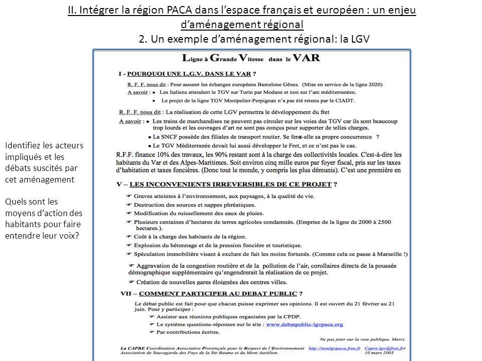 II. Intégrer la région PACA dans lespace français et européen : un enjeu daménagement régional 2. Un exemple daménagement régional: la LGV Identifiez