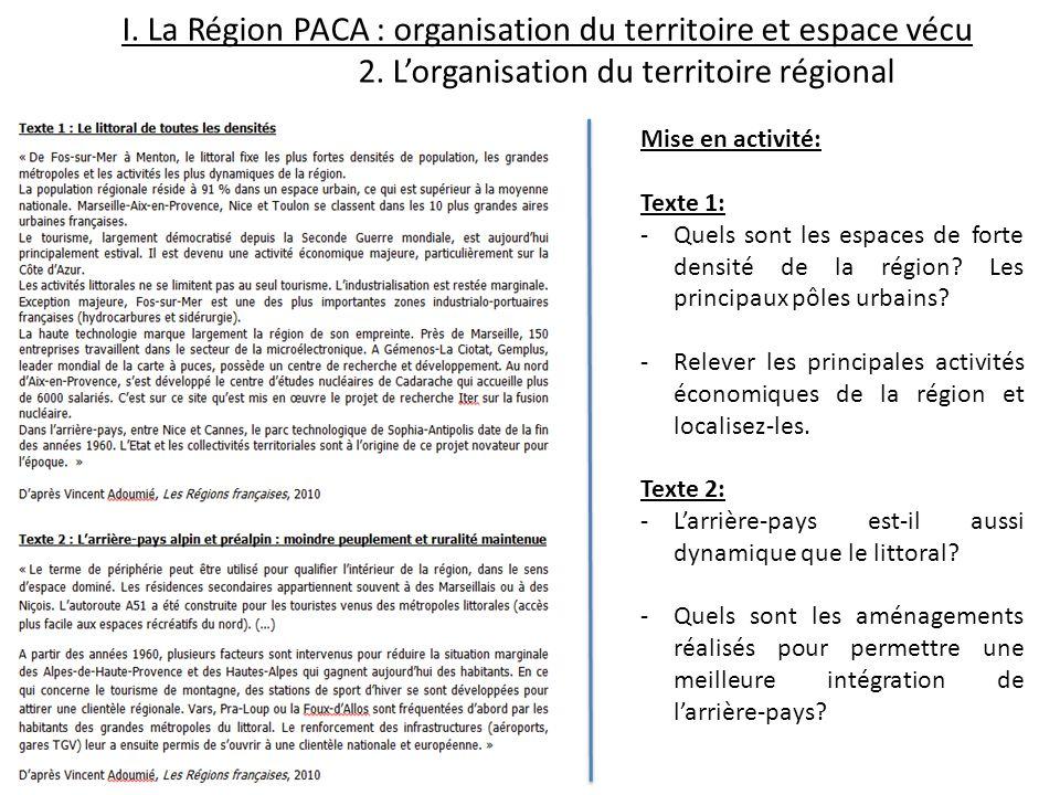 I. La Région PACA : organisation du territoire et espace vécu 2. Lorganisation du territoire régional Mise en activité: Texte 1: -Quels sont les espac