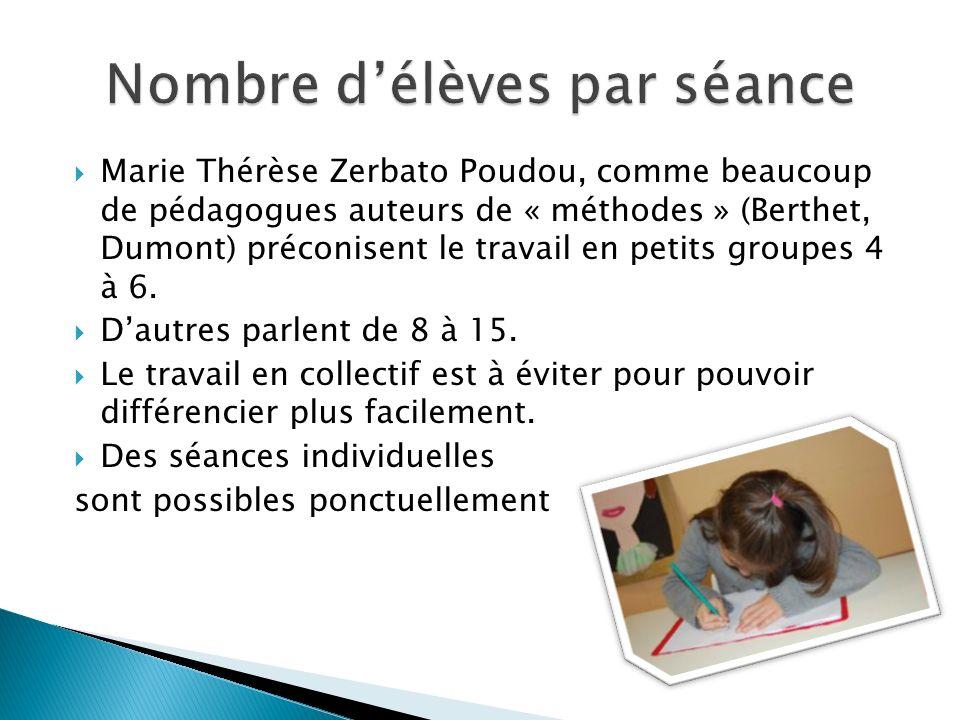 Marie Thérèse Zerbato Poudou, comme beaucoup de pédagogues auteurs de « méthodes » (Berthet, Dumont) préconisent le travail en petits groupes 4 à 6. D