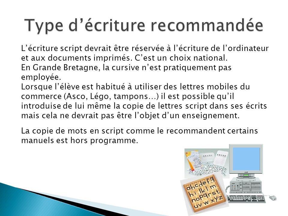 Lécriture script devrait être réservée à lécriture de lordinateur et aux documents imprimés. Cest un choix national. En Grande Bretagne, la cursive ne
