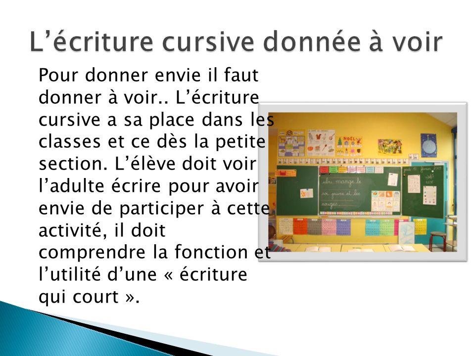 Pour donner envie il faut donner à voir.. Lécriture cursive a sa place dans les classes et ce dès la petite section. Lélève doit voir ladulte écrire p