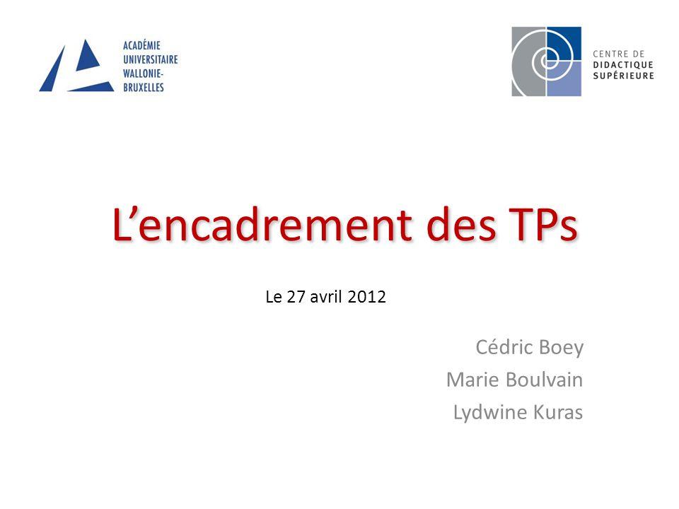 Lencadrement des TPs Cédric Boey Marie Boulvain Lydwine Kuras Le 27 avril 2012