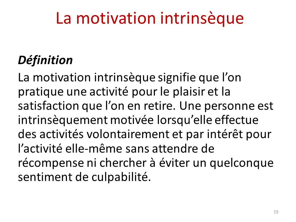 La motivation intrinsèque Définition La motivation intrinsèque signifie que lon pratique une activité pour le plaisir et la satisfaction que lon en retire.