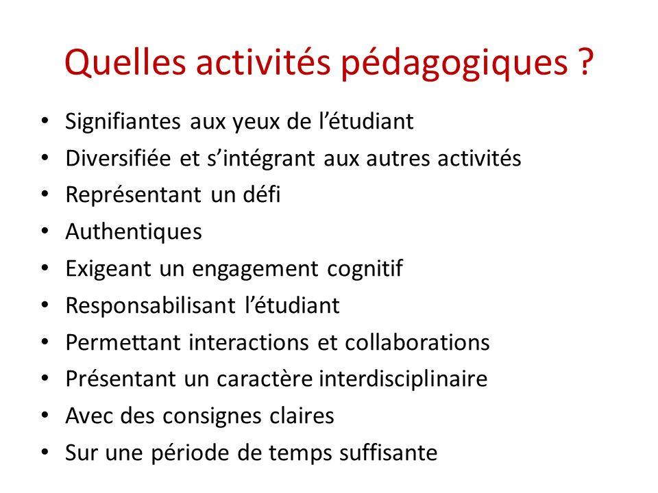 Quelles activités pédagogiques ? Signifiantes aux yeux de létudiant Diversifiée et sintégrant aux autres activités Représentant un défi Authentiques E