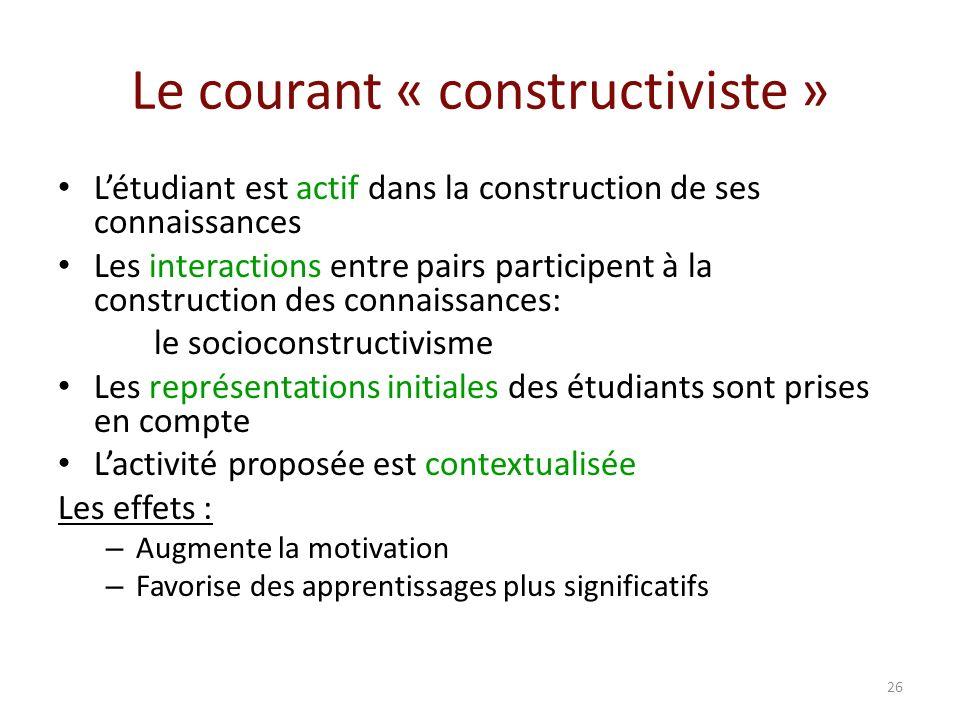 Le courant « constructiviste » Létudiant est actif dans la construction de ses connaissances Les interactions entre pairs participent à la constructio