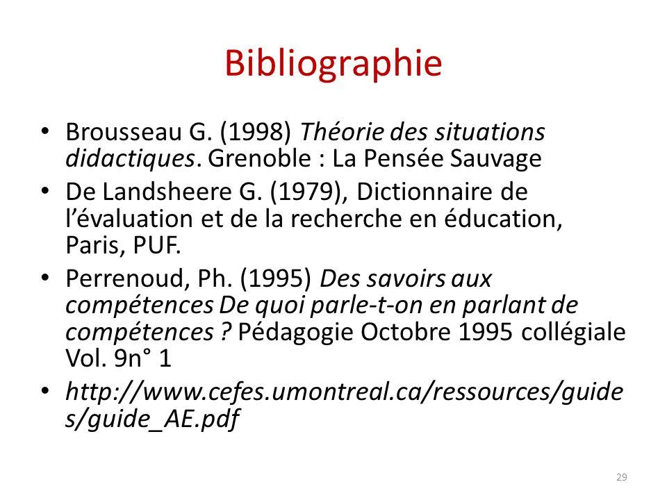 Bibliographie Brousseau G. (1998) Théorie des situations didactiques. Grenoble : La Pensée Sauvage De Landsheere G. (1979), Dictionnaire de lévaluatio