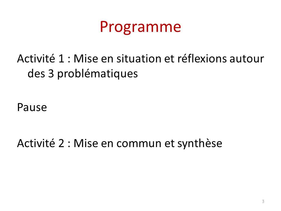 Programme Activité 1 : Mise en situation et réflexions autour des 3 problématiques Pause Activité 2 : Mise en commun et synthèse 3