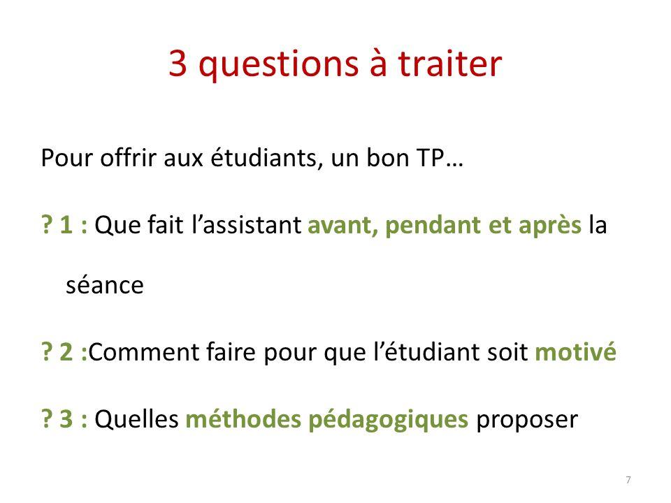 3 questions à traiter Pour offrir aux étudiants, un bon TP… ? 1 : Que fait lassistant avant, pendant et après la séance ? 2 :Comment faire pour que lé
