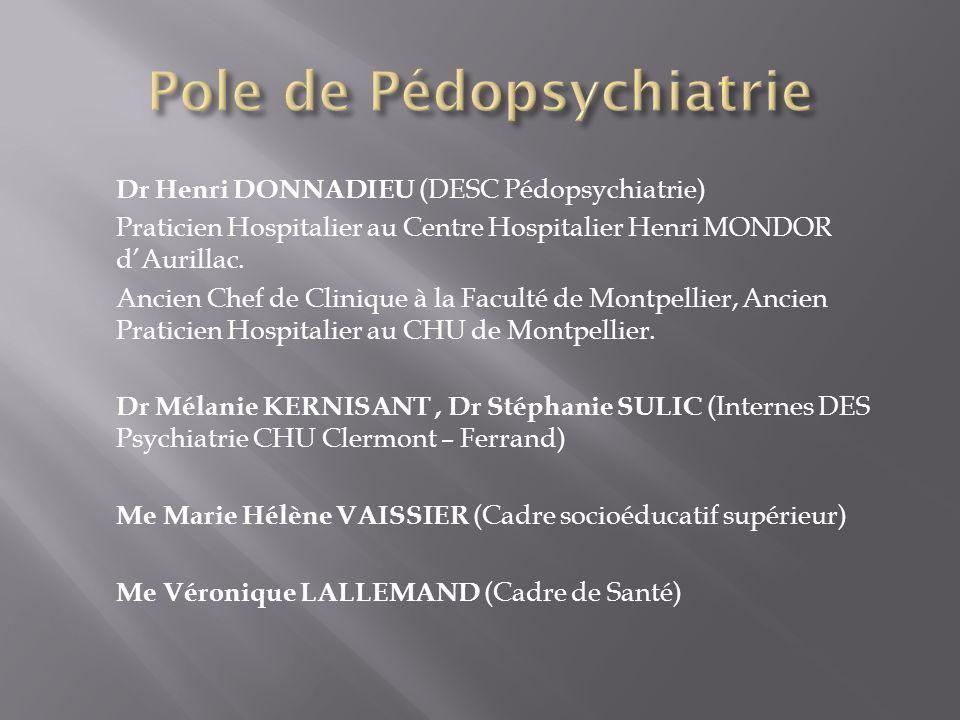 Dr Henri DONNADIEU (DESC Pédopsychiatrie) Praticien Hospitalier au Centre Hospitalier Henri MONDOR dAurillac. Ancien Chef de Clinique à la Faculté de