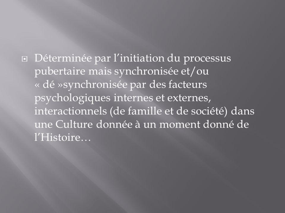 Déterminée par linitiation du processus pubertaire mais synchronisée et/ou « dé »synchronisée par des facteurs psychologiques internes et externes, in