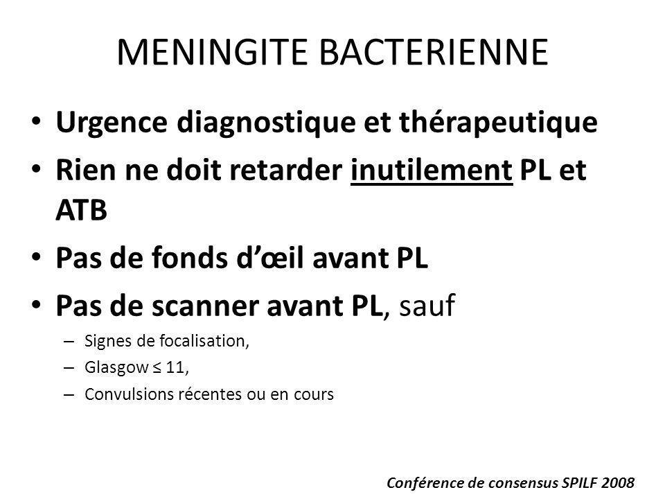 ATB seulement après PL, sauf – Purpura – PEC à lhôpital 90 minutes – Contre-indication à la PL immédiate: instabilité hémodynamique, anomalie hémostase, signes dengagement cérébral… Hémocultures et ATB probabiliste dans toutes les situations de retard ou contre-indication à la PL Avis réanimateur et/ou infectiologue obligatoires MENINGITE BACTERIENNE (2) Conférence de consensus SPILF 2008