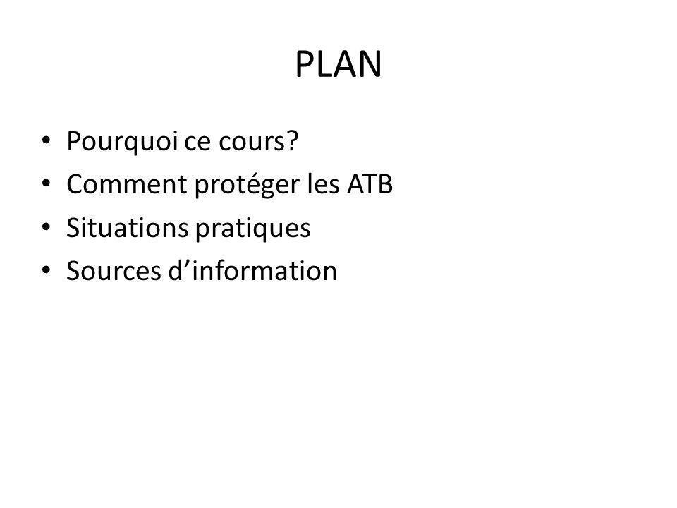 PLAN Pourquoi ce cours? Comment protéger les ATB Situations pratiques Sources dinformation