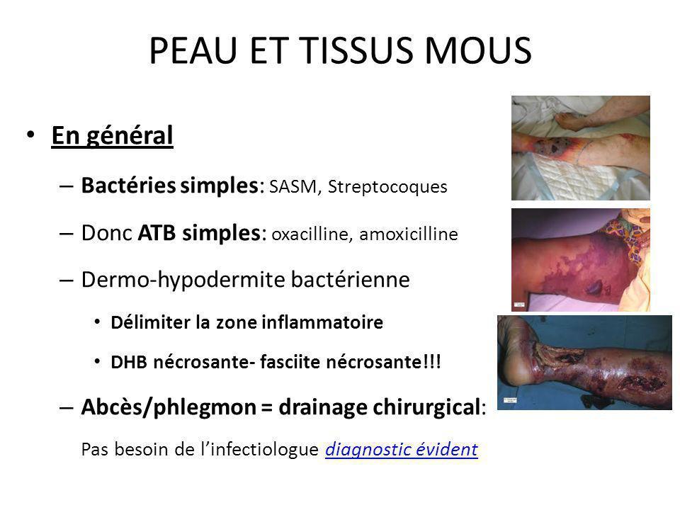 PEAU ET TISSUS MOUS En général – Bactéries simples: SASM, Streptocoques – Donc ATB simples: oxacilline, amoxicilline – Dermo-hypodermite bactérienne D